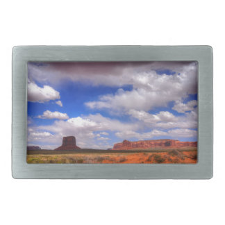 Clouds over the desert rectangular belt buckle