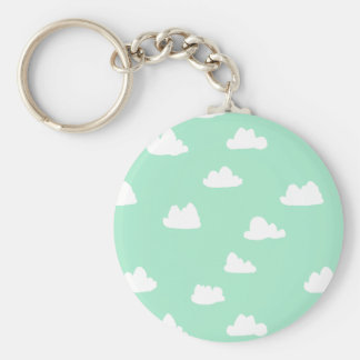 Clouds / Pistachio Pastel Green / Andrea Lauren Basic Round Button Key Ring