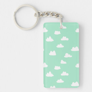 Clouds / Pistachio Pastel Green / Andrea Lauren Double-Sided Rectangular Acrylic Key Ring
