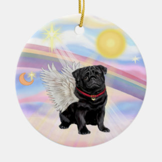 Clouds - Pug Angel (black) Ceramic Ornament