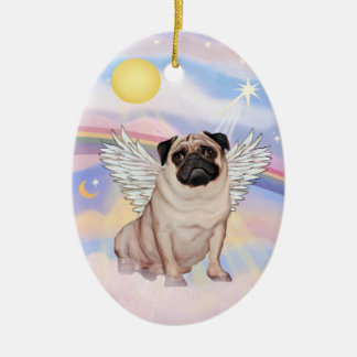 Clouds - Pug Angel (fawn) Ceramic Ornament