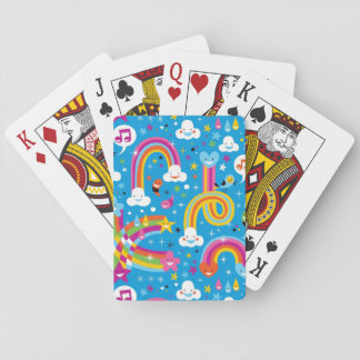 clouds rainbows rain drops hearts pattern playing cards