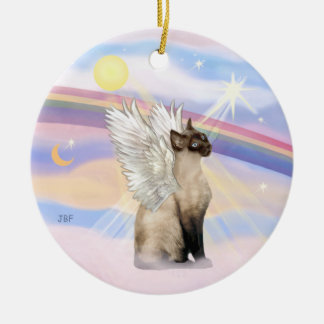 Clouds - Siamese Cat Angel Ceramic Ornament