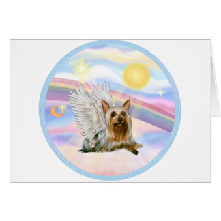 Clouds - Silky Terrier Angel (lying down) Card