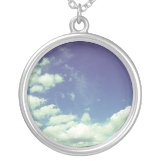 clouds silver plated necklace