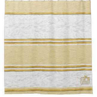 Clouds Textured Gold Plain Shower Curtain