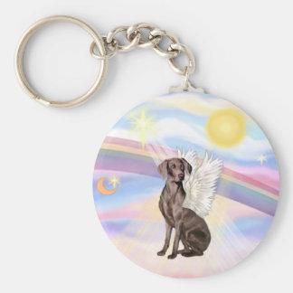 Clouds - Weimaraner Angel Basic Round Button Key Ring