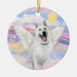 Clouds - White German Shepherd Ceramic Ornament