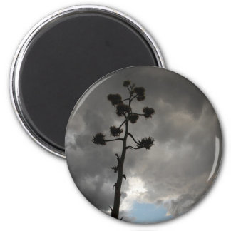 Clouds with Agave Flowers 6 Cm Round Magnet