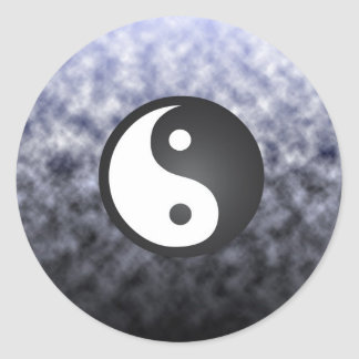 Clouds & Ying Yang Classic Round Sticker