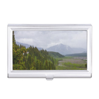 Cloudy At Denali Business Card Holder