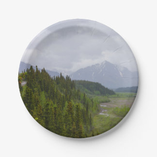 Cloudy At Denali Paper Plate