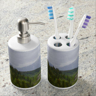Cloudy At Denali Soap Dispenser And Toothbrush Holder