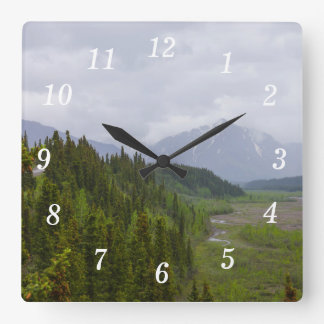 Cloudy At Denali Square Wall Clock