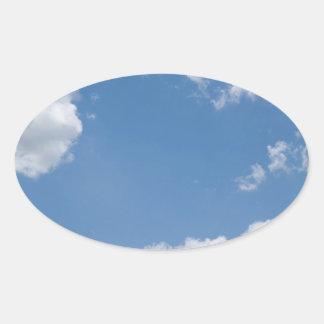 Cloudy Blue Sky Background Oval Sticker