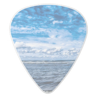Cloudy day on the beach white delrin guitar pick
