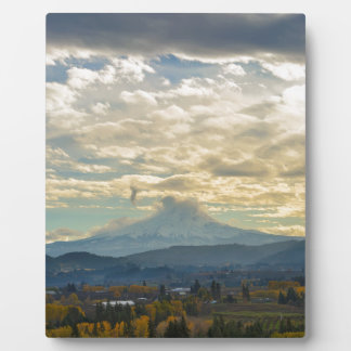 Cloudy Day over Mt Hood in Hood River OR Plaque