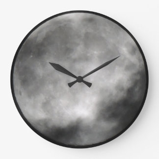 Cloudy Full Moon Wall Clock