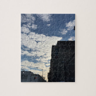 Cloudy Harlem Sky New York City Photography NYC Jigsaw Puzzle