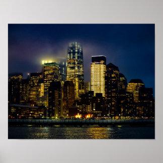 Cloudy Manhattan Night Poster