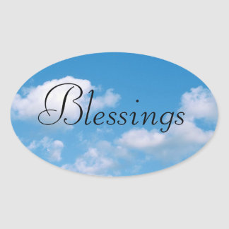 Cloudy Sky Blessing Religious Oval Sticker