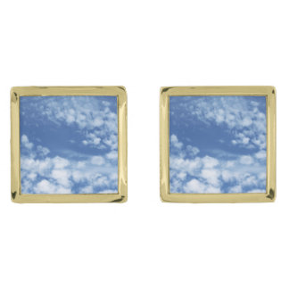 Cloudy Sky Gold Finish Cuff Links