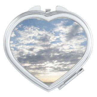 Cloudy Sky Heart Compact Mirror