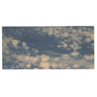 Cloudy Sky Wood USB Flash Drive