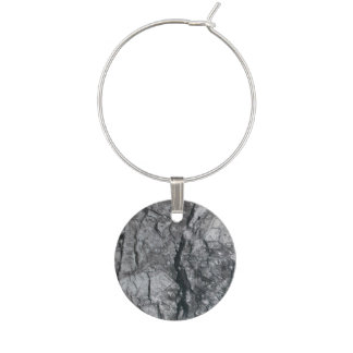 Cloudy Slate Black Streaked marble stone finish Wine Charm