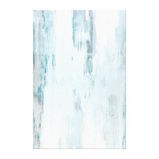 'Cloudy' Teal and Beige Abstract Art Stretched Canvas Prints