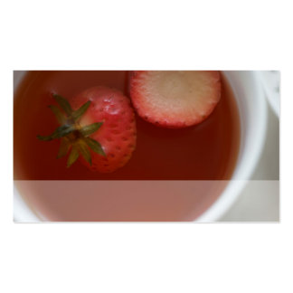 clouse up of strawberry tea pack of standard business cards