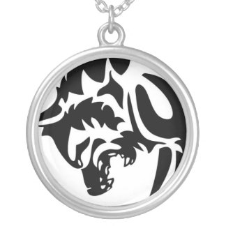 Clout Heart Logo Wolf Round Pendant Necklace