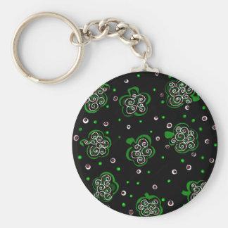 Clover Black Key Ring
