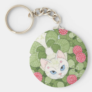 Clover Fairy Cat Basic Round Button Key Ring
