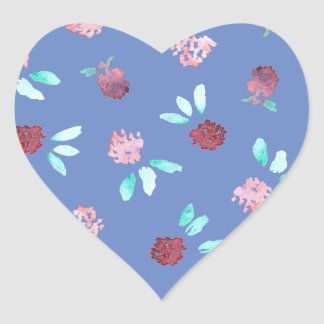 Clover Flowers Glossy Heart Sticker