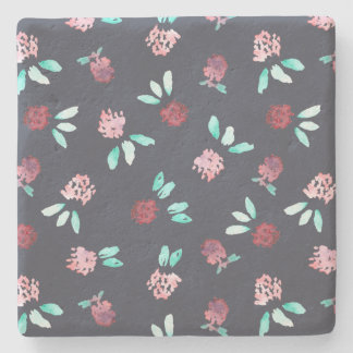 Clover Flowers Limestone Coaster