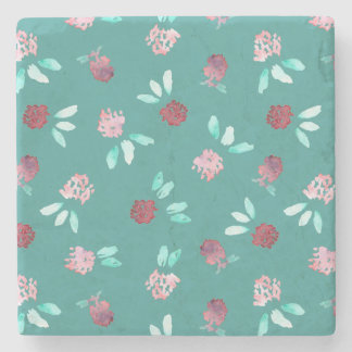 Clover Flowers Marble Stone Coaster