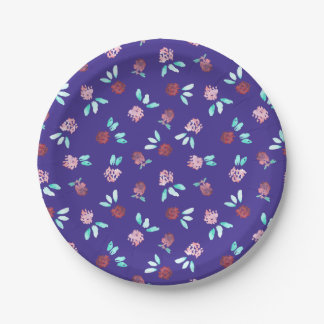 Clover Flowers Paper Plate 7''