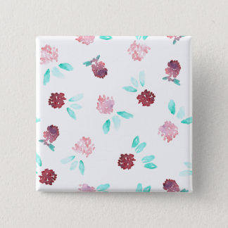 Clover Flowers Square Button