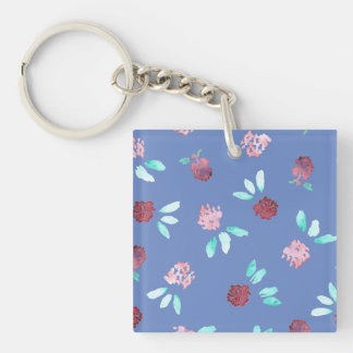 Clover Flowers Square Double-Sided Keychain