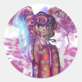 Clover Geisha Round Sticker Sticker