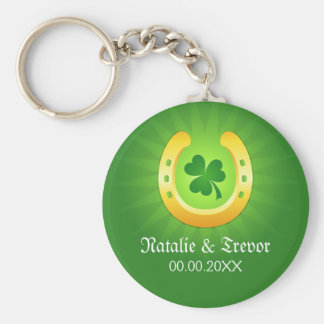 Clover golden horse St Patrick's day wedding favor Key Ring