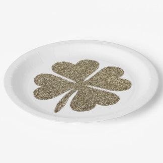 Clover Good Luck Symbol Gold Look Elegant Paper Plate