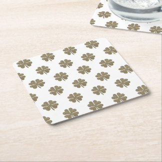 Clover Good Luck Symbol Gold Look Elegant Pattern Square Paper Coaster