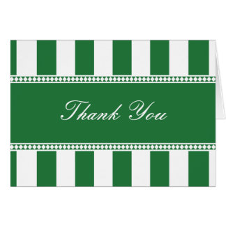 Clover Green and White Cafe Stripes Thank You Note Card