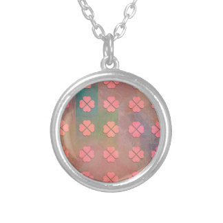 CLOVER HEARTS PATTERN SILVER PLATED NECKLACE