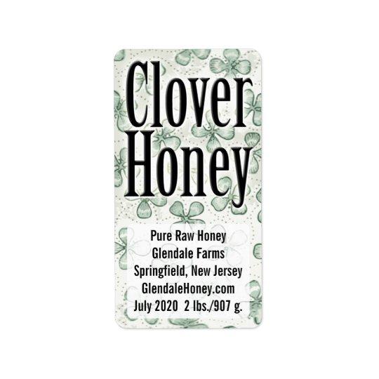 Clover Honey 5-line Personalised Label