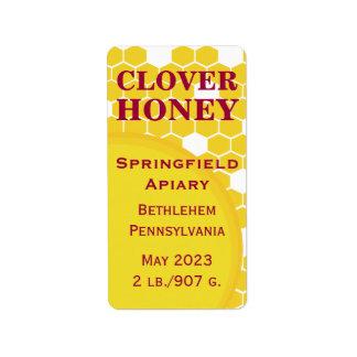 Clover Honeycomb Honey Jar Address Label