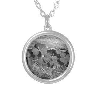 Clover in Arcata Forest Round Pendant Necklace
