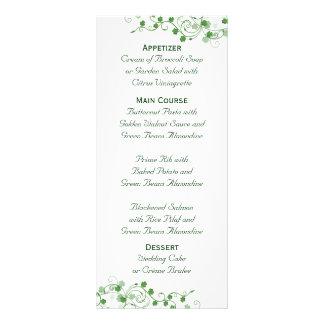 Clover Irish Wedding Menu Rack Card